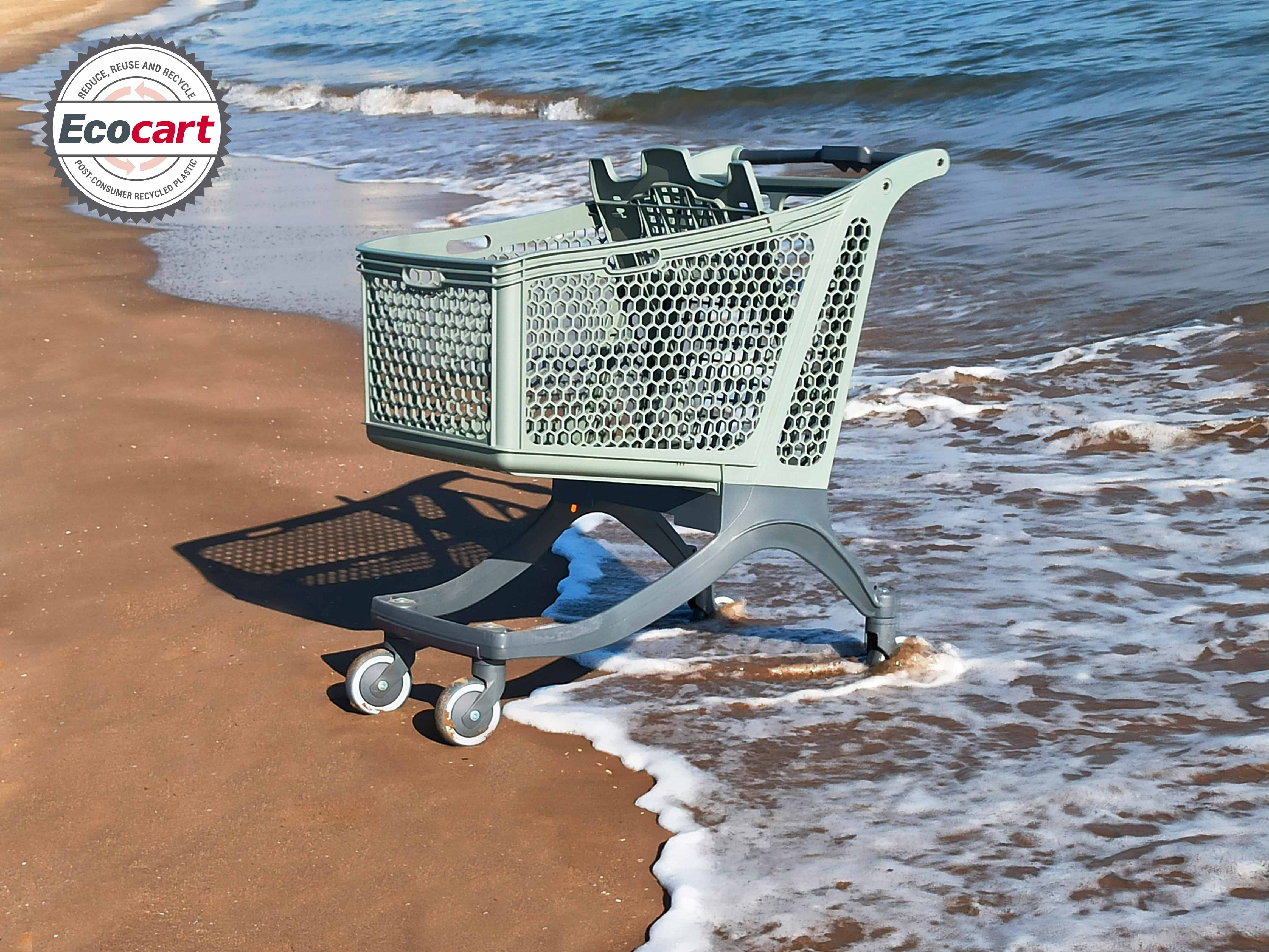 The Polycart ECOCART e-180 is an ecological supermarket trolley made from post-consumer recycled plastic