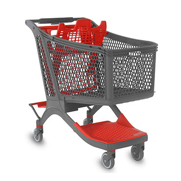This plastic shopping cart is intended for a customer who is going to make a big purchase.